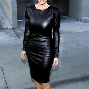 New Club Sexy Women Faux Leather Solid Color Long Sleeve O Neck Bogycon summer midi dress women 2020