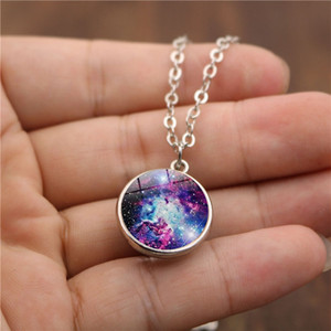 Double Sided Universe Star Cloud Glass Cabochon Necklace Time Gemstone Pendant Women Girls Fashion Jewelry Will and Sandy