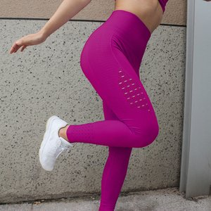 High size Yoga leg tight fitting women's exercise mesh breathing fitness clothes form pants women's 7-color Yoga competition pants