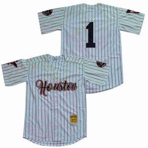 Negro League Houston Preto Baseball Eagles 1 com botões Jersey Men branca da equipe cores Riscas Legal Base de bordados e costura Top Quality