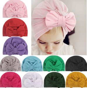 11 Colors Baby Hat for Girls Bows Turban Hats Infant Photography Props Cotton Kids Beanie Baby Cap Accessories Children Hats