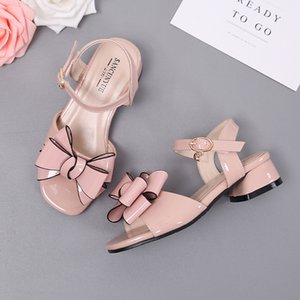 Girls Sandals Bowtie Sweet Children Princess Shoes for Kids Baby Girls High Heels Party Shoes Patent Leather Sandalia Infantil