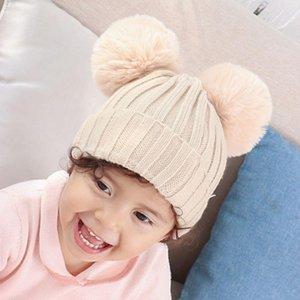 Toddler Baby Kids Chunky Crochet Knit Hat Winter Cuffed Cute Pompom Beanie Cap M7DD