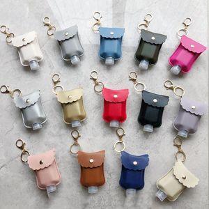 Hand Sanitizer Bottled Separately Bag Keychain Bottle Set for Women Men Trendy PU Leather Cute Wavy Keychain Disinfectant Bag