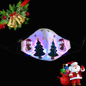Led Designer Christmas Face masks Xmas Santa Claus Masks with Led Glowing for Christmas Decoration Luminous LED Colorful Face Masks