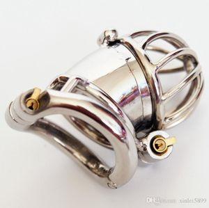 Double Lock Cage Sesso castità maschile in acciaio inox Blocco dispositivo design Pene Castità Uomini Giocattoli anello del metallo di cazzo Lslac