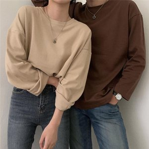 2021 Autumn Women Oversize T-shirts O Neck Long Sleeve Solid Color Casual T-shirt Pullovers Bottoming Shirt Minimalist Style Top