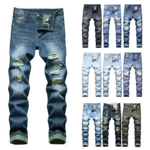 Mens rasgado jeans reto slim hip-hop patch mens jeans não esticar denim calças sem cinto vários estilos