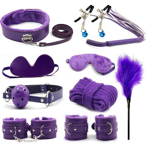 10 Pcs set Sex Products Erotic Toys for Adults BDSM Sex Bondage Set Handcuffs Nipple Clamps Gag Whip Rope Sex Toys For Couples