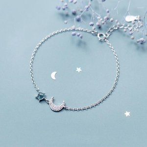 LISM 100% 925 Sterling Silver Star Moon Bracelets & Bangles New Fashion Silver Cubic Zirconia Chain Bracelet For Women Jewelry1