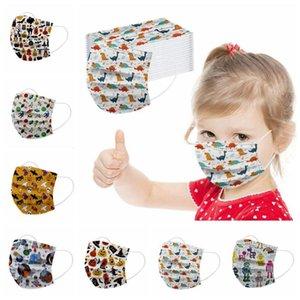 Mascarilla de cara de los niños Dibujos animados impresos máscaras de cara desechable Calabaza Dinosaurio Impresión de la boca Cubierta de la boca Personalidad Diseñador Máscaras HWC3504