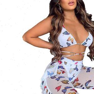 Voir à travers Womens Beach Bra Pantalons De Deep V cou Butterfly Vêtements imprimés à lacets à lacets en haut de lacets en vrac couchage de vêtements d'été