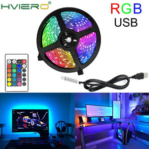 USB LED Strip Lamp 2835 SMD DC5V Flexible LED Light Tape Ribbon 2M 5M HDTV TV Desktop Screen Light RGB Decorative LED