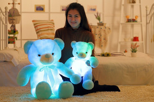Cartoon cute music luminous ribbon bow tie bear plush toy Valentineday birthday gift Teddy bear doll built in led colorful lights