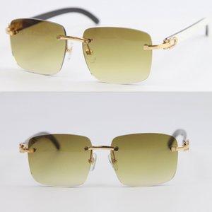 Hot Rimless T8300816 Black White Buffalo Horn Sunglasses Men Women Glasses Frame outdoors driving glasses C Decoration gold frame glasses