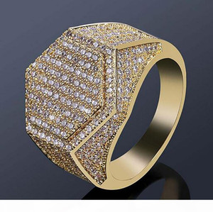 Mens 18k Gold Plated Geometric Hexagon Iced Out Pave CZ Bling Ring Full Simulated Diamonds Stones Gold Silver Rings with gift box