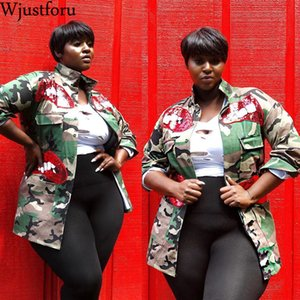 Wjustforu Camouflage Coat Jacket Fashion Outwear Women Military Autumn Hot Sale Button Casual Army Green Women Jacket Outwear 201020