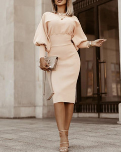 Frauen Vintage Laterne Sleeve Slim Kleider Feste Farbe Hülle Herbst Casual Party Elegante Pullover Strickkleid 121609
