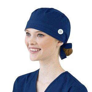 Women Cotton Bandage Adjustable Cap Sweatband Bouffant Hat Men Summer Hat