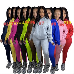 Winter Warm Fleece Tracksuit Solid two Piece Outfits Womens Designers Hooded Fleece Sportswear with Pocket Hoodie and Pants Clothing E101504