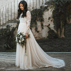 High Neck Wedding Dresses Modest Illusion Long Sleeve Romantic Floral Appliques A-Line Tulle Boho Beach Bridal Gowns vestidos de novia