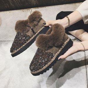Furry lusso Scarpe Donna Designer caldo Stivaletti Fashion Winter Snow Paillettes scintillio Bling Plush Platform Breve Demonia Boots