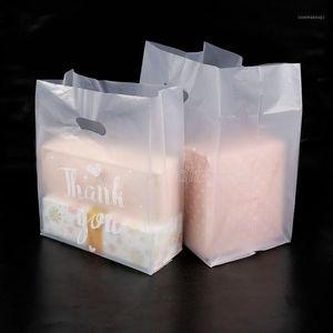 Gracias Bolsa de regalo de plástico Bolsa de almacenamiento de tela con mango fiesta boda plástico dulce pastel bolsas de envoltura