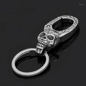 VikingCeltic 316L stainless steel skull keychain1