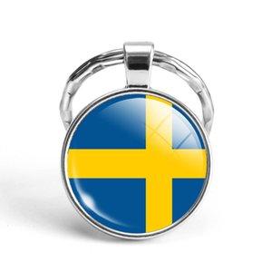 Футбол Новейший металл Кубок мира Ключ Брелок Сирия Швеция Швейцария / Саудовская Аравия Национальный флаг Стекло Cabochon Keyring
