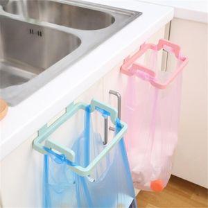 Portable PP Plastic Garbage Hanging Bag Kitchen Trash Storage Rack Bag Hook Scouring Pad Dry Shelf Holder Kitchen Organzier