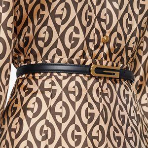 Simple letter matte gold buckle cowhide thin belt leather decoration small waistband women's belt green silver buckle belt