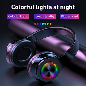 Colorful Gradient Wireless Bluetooth Headphones Stereo Foldable Gaming Earphone With Mic TF Card Noise Reduction Headset