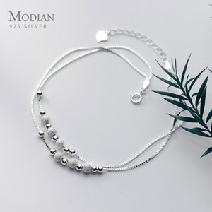 Modian Sterling Silver 925 Rose Gold Color Frosted Ball Light Beads Anklet for Women Snake Bone Chain Korea Style Fine Jewelry F1222