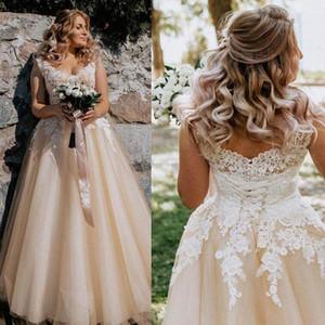 Country Style Champagne Plus Size A Line Wedding Dresses V Neck Lace Appliques Bridal Gowns Open Back Wedding Dress vestido de novia