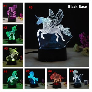Creative Products white Acrylic Light Night 7 Color Lamp White Black Textured base Cyan Living Room Party 3D Lamp