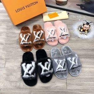 NN2 Mink deslizadores causales de lana zapatillas niños niñas tian / flores comienzan las sandalias de diapositivas de impresión unisex tirón de la playa de interior con la caja de fracasos