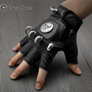 1 Pair Horn Studded Skull Fingerless Leather Gloves Punk Rock Biker Men 201020