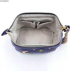 Женский Прекрасные моды Аниме Printed Velvet Star Moon Вышитые кисточкой Zipper Cosmetic хранения сумка для путешествий Макияж Дело Организатор
