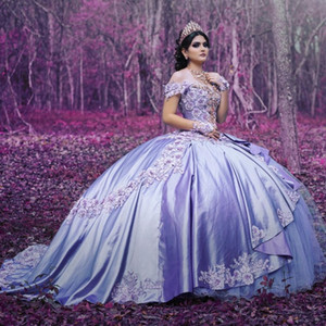 Lavender Ball Gown Sweet 16 Dresses Prom Off The Shoulder 2021 Floral Applique 3D Flowers Beaded Satin Vestiods De Quinceanera Dress Fashion