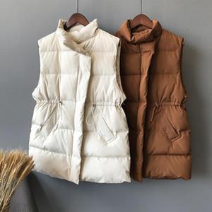 2019 Fashion Winter Vest Warm Long Sleeveless Vests New Korean Stand up Collar Cotton Waistcoat Gilet Female XZ650