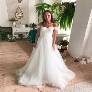 Off Shoulder Long Wedding Dresses with Long Tulle Sweep Train Bridal Gowns robe de