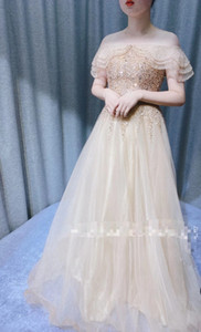 2020 Sexy Off Shoulder Gold Bling Bling Women Evening Dresses A-line Soft Tulle Girls Pageant Dresses Sexy Back Prom Gowns Vestido de Fiesta