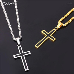 Collare Gold Cross Necklaces Men 36L Stainless Steel Religious Jesus Christian Crucifix Cross Necklace Women Men Jewelry P9521