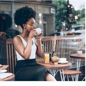 Короткий высокий хвостик Afro Puff завитые Ponytail Наращивание волос Шатен Индийский волос девственницы кулиской хвостик Для черных женщин 4colors