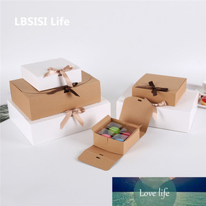 LBSISI Life 10pcs Chocolate Bread Box Wedding Burthday DIY Handmade Gift Pack Cake Boxes And Packaging Child Favor With Ribbon