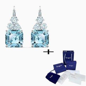 SWA 2020 Nouvelle haute qualité classique Sea bleu étincelant Boucles d'oreilles Mode Femme Pierced exquis femme le jour de la Saint-Valentin cadeau anniversaire