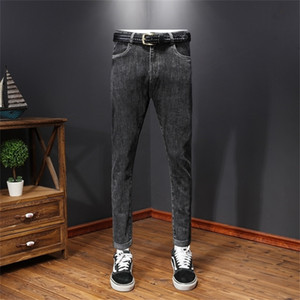 20 autumn   winter men's grey jeans Leggings slim elastic trendy men's pants casual pants jeans88TC