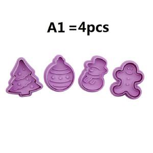 48 스타일 1SET = 3D 플라스틱 PP 크리스마스 쿠키 커터 봄 누르면 4 개 금형 케이크 장식 도구 비스킷 금형 AAD2734