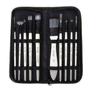 10 unids Pinceles Pinceles Nylon Hair Acuarela Gouache Paintbushes Pintura Herramienta Art Supplies 201225
