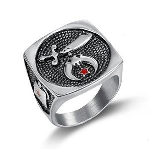 Diseñador precio barato Producto de alta calidad Producto religioso Musulmán Espada Shriner Ring Cuchillo Luna y estrella Camel Hat Fremason Shrine Masonic Ring